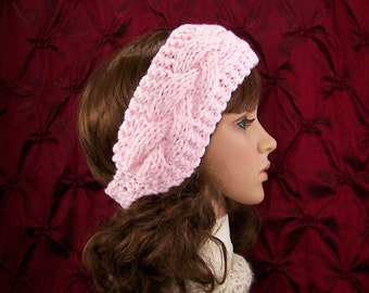 Hand knit cabled  headband, head wrap, ear warmer - soft pink color - ready to ship - women's winter accessories - handmade