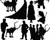 Frozen Silhouettes Clipart Clip Art Digital Scrapbooking Commercial Use - printable clipart - Instant Download  - DP311