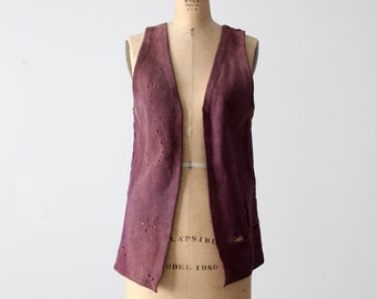 1960s purple suede leather vest, vintage hand made hippie vest
