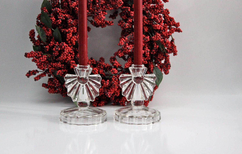 Vintage Glass Art Deco Candle Holder: Art Deco Glass Candle Holders / Depression Glass
