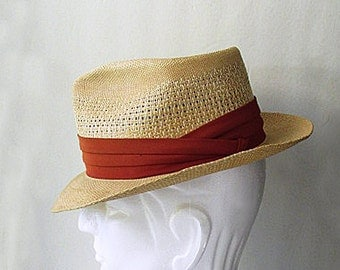 1950s Straw FEDORA for Summer, size  7  1/4