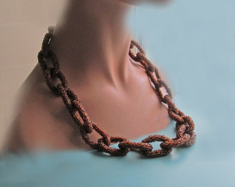 Vintage Root Beer Bead Links Necklace, possibly home made
