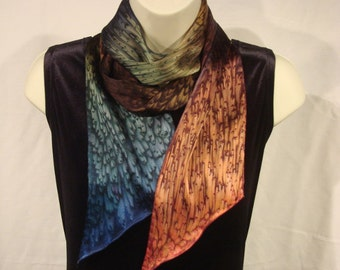Earth Tone Long Narrow Silk Scarf