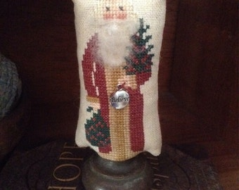 Primitive Santa on old doorknob