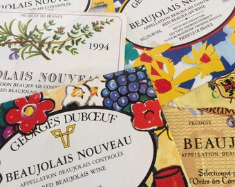 5 Beaujolais Wine Labels France - Ephemera Collage Creative Spark Vintage Paper Pack - label lot - french art winery - wines - stocking