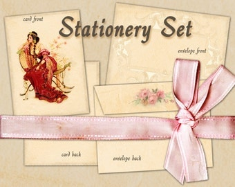Stationary Set Envelope No 1 with card Instant download Vintage card French style