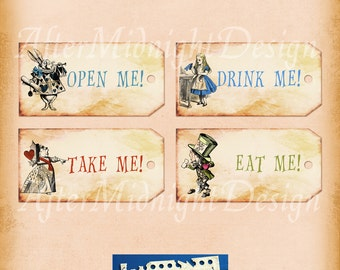 Alice Tags No 6,  Alice in Wonderland Tags,  labels, perfect for parties, presents and invitations.