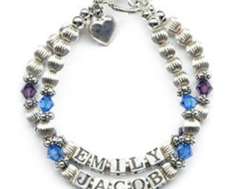 Classic Birthstone Name Bracelet