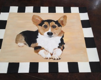 Welsh Corgi owners your pup on a mat.  This canvas floor mat can be placed anywhere in your home.