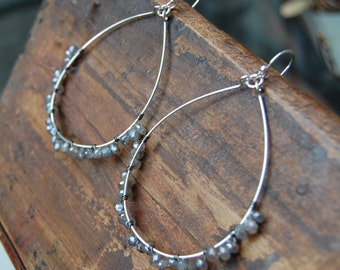 Hand Made Faceted Mystic Labradorite Hoop Earrings