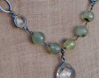 Faceted Crystal Quartz in Oxidized Sterling Silver Bezel Necklace