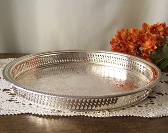 Vintage Serving Tray Silver Plate Round Filigree Tray Hor dourves Tray Chased Silverplate Wm. Rogers Mfg. Vintage 1970s