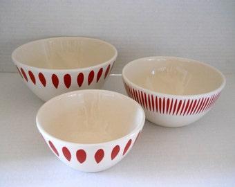 3 Red & White Bowls