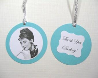Set of 10 Audrey Hepburn Breakfast at Tiff... Bridal Shower Favor Tags - Gift Tags - Aqua Blue Tags - Thank You Darling - Pool Blue Tags