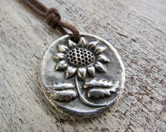 Sunflower necklace, Fall Sunflower, Sunflower jewelry, Rustic Sunflower Jewelry,Sunflower Pendant