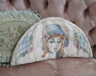 Vintage French Boudoir Throw Pillow Sheer Organdy Hand Embroidered Lady Bonnet Ribbon Flowers Blue Tones  Shabby Chic
