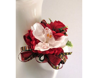 Corsage Christmas White Orchid and Red Rose