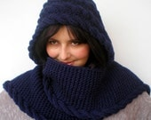 Cabled Marion Dark Navy Blue  Hooded Scarf soft mixed Wool  Hooded Scarf   Hand Knit Chunky Cabled Scarf Hood NEW COLECTION