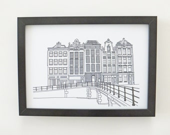 Amsterdam Print, minimalist print, Monochrome art print, artwork, Print of Amsterdam, Holland, Picture of Amsterdam, Picture of Canal Houses