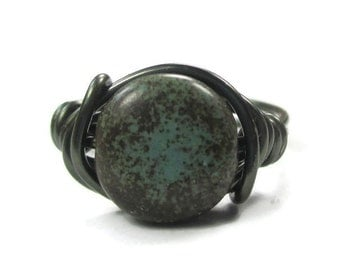 Turquoise Jewelry - Wire Wrapped Ring, Boho Gunmetal Jewelry