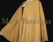 Gold Cape Ruana Wrap Coat Wool Cashmere Blend by Maya Matazaro USA Made
