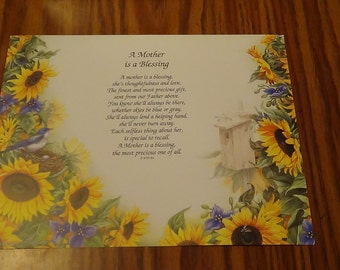 Mother's Day Poem, Sunflowers, Art Background Print