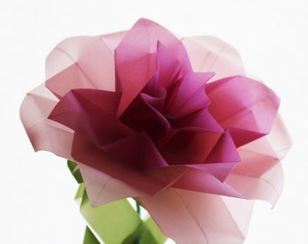 Origami Rose - Translucent Vellum Origami Paper Flower - Home Decor - Wedding Decoration - Paper Gift Idea for anniversary, gifts for girls