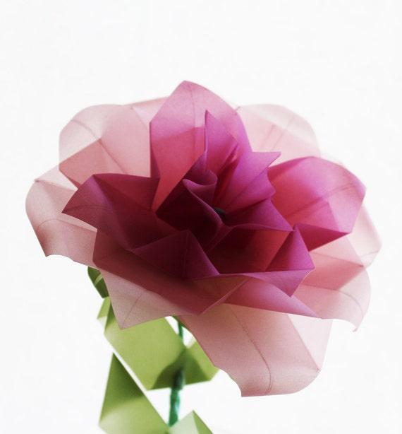 origami rose translucent vellum origami paper flower home