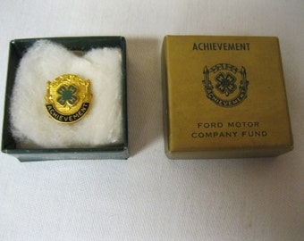 Achievement Award Rare Memorable Pin Youth 4 H Award in Orig. Box Ford Motor Co. Fund Advertisement 1/20 10K Gold Filled Vintage Jewelry