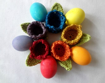 CROCHET PATTERN Easter Tulip Egg Cozy - crocheted flower cozy - egg cozy - PDF Pattern - photo tutorial, crochet pattern, egg cozy pattern