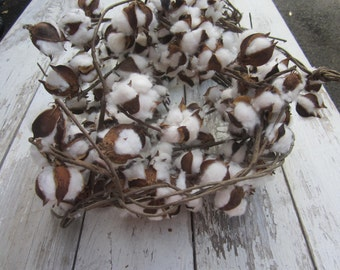 Bundle of Natural Cotton Balls on stems Wedding Bouquet Centerpiece Large quantity Husks