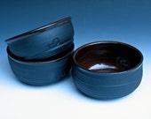 Set of Three Black Bowls with Temmoku Glaze