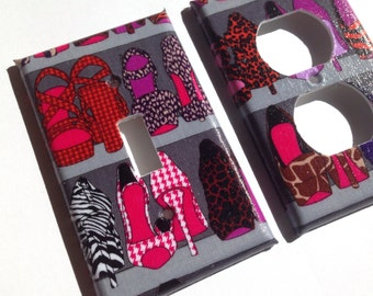 Animal Print Single Light Switch Cover / Zebra Room Decor / Gray Decor  /Leopard Bedroom