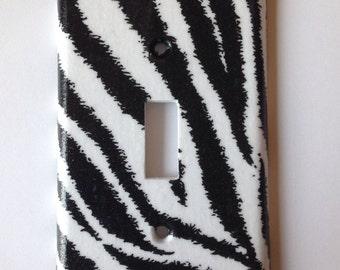 Zebra Light Switch Plate / Black and White Zebra Single Light switch Plate Cover / Animal Print Decor / Safari Nursery Decor