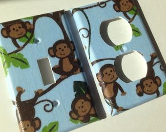 Monkey Light Switch Plate Cover/Blue Monkeys Single Light Switch Plate Cover Outlet Set / Boy Room Decor/ Nursery Decor / Bathroom Decor