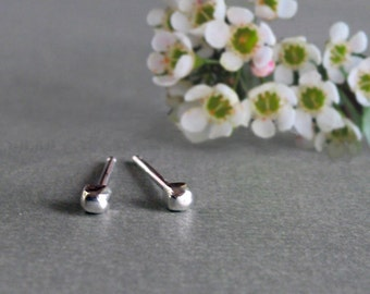 Tiny Pebble Earrings, Sterling Silver Post Studs, Cute