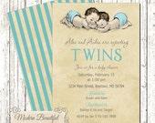 Twin Boys Invitation Vintage Baby Shower, twins invitation, boy baby shower invitation, twins invitation, shabby chic, vintage illustration