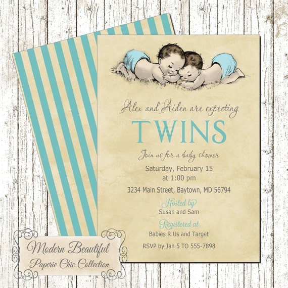 twin boys invitation vintage baby shower, twins invitation, boy, Baby shower invitations