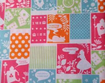 Alice in wonderland fabric pink and green base color one yard