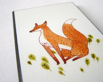 Noble Fox Plaque Mounted Giclee Print Illustration
