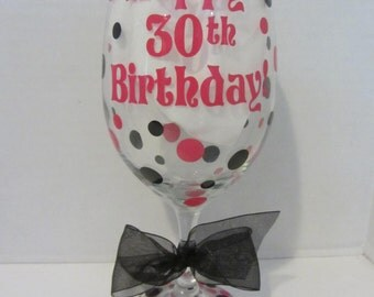 Extra large personalized wine glass- Happy 30th Birthday