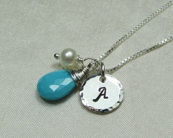 Personalized Necklace Monogram Necklace Bridesmaid Gift Initial Necklace Mothers Birthstone Necklace Turquoise Bridesmaid Jewelry Gift Idea