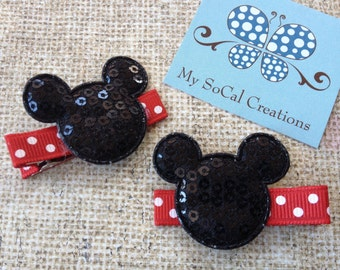 Mickey/Minnie Mouse Inspired Hair Clips/Sequin Mouse Ears/No Slip Hair Clips/Pigtail Set