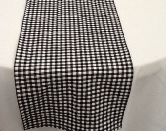 Table Runner,Black and White Check, Ready to SHIP, Wedding, Shower, Party, Home Decor, Country, Cowboy, Cowgirl, Barn, Picnic