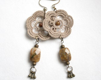 Linen Flower Tatting Lace Beaded Dangle Earring