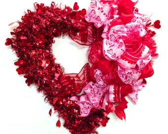 """Valentines Day Wreath Red & Pink  w/ LARGE Custom Designed Bow ( Approx. 15"""") Indoor or Outdoor"""