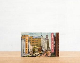 Vintage Postcard Art Block 'Granville Street' - Canadiana, Vancouver, vintage streetscape, image transfer