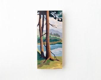 "Paint by Number Large 6"" x 14"" Art Block 'Mountain View' - vintage landscape, image transfer"