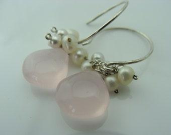 Light Pink Chalcedony Freshwater Pearl 925 Sterling Silver Earrings