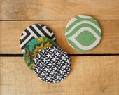 Fabric Coasters, Drink Coasters, Coaster Set - Gift for him and her, hostess, unique spring summer gift - Upcycled fabrics and ecofriendly
